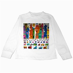 Painted Autos City Skyscrapers Kids Long Sleeve T-Shirts