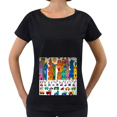 Painted Autos City Skyscrapers Women s Loose-Fit T-Shirt (Black)