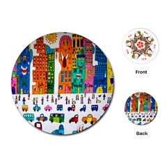 Painted Autos City Skyscrapers Playing Cards (Round)