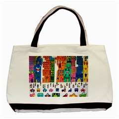 Painted Autos City Skyscrapers Basic Tote Bag