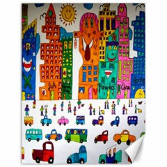 Painted Autos City Skyscrapers Canvas 12  X 16