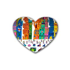 Painted Autos City Skyscrapers Heart Coaster (4 pack)