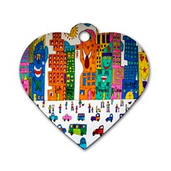 Painted Autos City Skyscrapers Dog Tag Heart (two Sides)