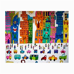 Painted Autos City Skyscrapers Small Glasses Cloth (2-Side)