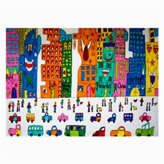 Painted Autos City Skyscrapers Large Glasses Cloth (2-Side)