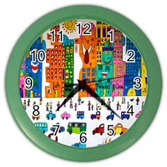 Painted Autos City Skyscrapers Color Wall Clocks