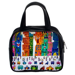 Painted Autos City Skyscrapers Classic Handbags (2 Sides)