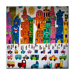Painted Autos City Skyscrapers Face Towel