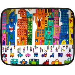 Painted Autos City Skyscrapers Double Sided Fleece Blanket (Mini)