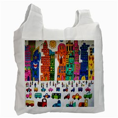 Painted Autos City Skyscrapers Recycle Bag (one Side)