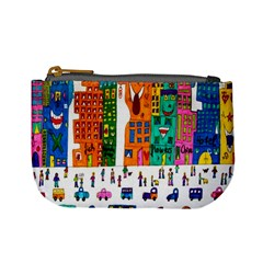 Painted Autos City Skyscrapers Mini Coin Purses