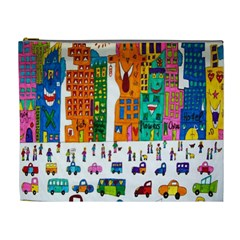 Painted Autos City Skyscrapers Cosmetic Bag (XL)