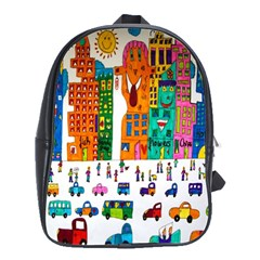 Painted Autos City Skyscrapers School Bags(Large)
