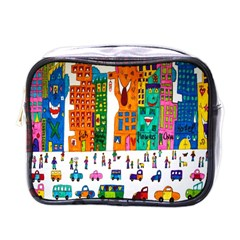 Painted Autos City Skyscrapers Mini Toiletries Bags