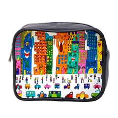 Painted Autos City Skyscrapers Mini Toiletries Bag 2-Side
