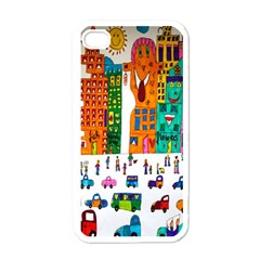 Painted Autos City Skyscrapers Apple iPhone 4 Case (White)