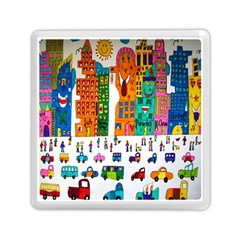 Painted Autos City Skyscrapers Memory Card Reader (Square)
