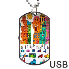 Painted Autos City Skyscrapers Dog Tag USB Flash (One Side)