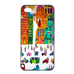 Painted Autos City Skyscrapers Apple iPhone 4/4s Seamless Case (Black)