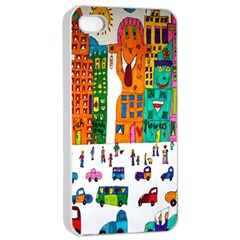 Painted Autos City Skyscrapers Apple iPhone 4/4s Seamless Case (White)
