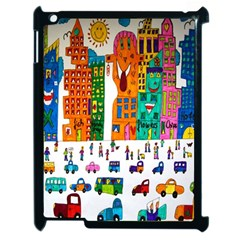 Painted Autos City Skyscrapers Apple iPad 2 Case (Black)