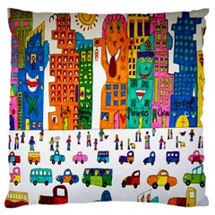 Painted Autos City Skyscrapers Large Cushion Case (two Sides)