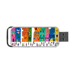 Painted Autos City Skyscrapers Portable Usb Flash (one Side)