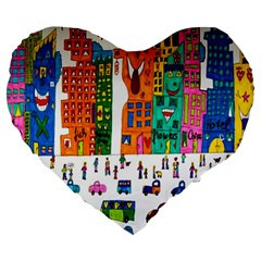 Painted Autos City Skyscrapers Large 19  Premium Heart Shape Cushions