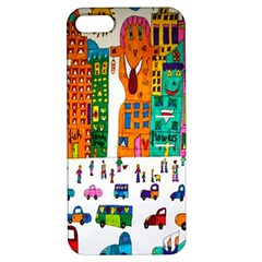 Painted Autos City Skyscrapers Apple iPhone 5 Hardshell Case with Stand
