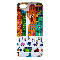 Painted Autos City Skyscrapers Apple Iphone 5 Premium Hardshell Case