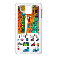 Painted Autos City Skyscrapers Samsung Galaxy Note 3 N9005 Case (white)