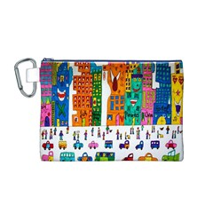 Painted Autos City Skyscrapers Canvas Cosmetic Bag (M)