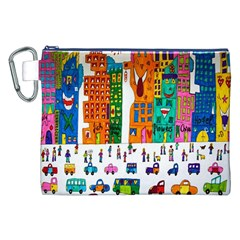 Painted Autos City Skyscrapers Canvas Cosmetic Bag (XXL)