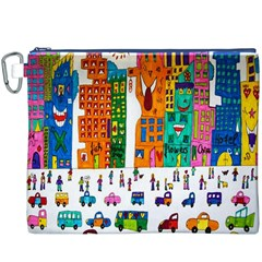 Painted Autos City Skyscrapers Canvas Cosmetic Bag (xxxl)