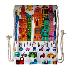 Painted Autos City Skyscrapers Drawstring Bag (Large)