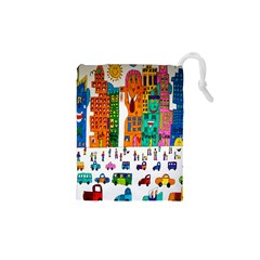 Painted Autos City Skyscrapers Drawstring Pouches (XS)