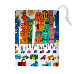 Painted Autos City Skyscrapers Drawstring Pouches (Extra Large)