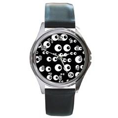 Seamless Eyes Tile Pattern Round Metal Watch