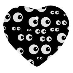 Seamless Eyes Tile Pattern Heart Ornament (Two Sides)