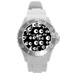 Seamless Eyes Tile Pattern Round Plastic Sport Watch (L)