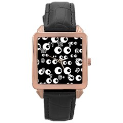 Seamless Eyes Tile Pattern Rose Gold Leather Watch