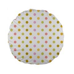 Polka Dots Retro Standard 15  Premium Round Cushions