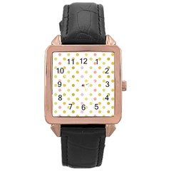 Polka Dots Retro Rose Gold Leather Watch