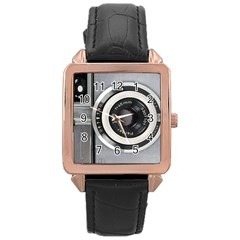Vintage Camera Rose Gold Leather Watch