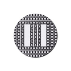 Pattern Background Texture Black Rubber Coaster (round)