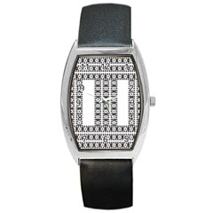 Pattern Background Texture Black Barrel Style Metal Watch