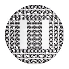 Pattern Background Texture Black Round Filigree Ornament (Two Sides)