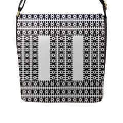Pattern Background Texture Black Flap Messenger Bag (L)