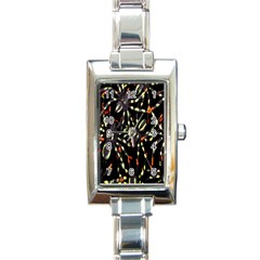 Spiders Background Rectangle Italian Charm Watch