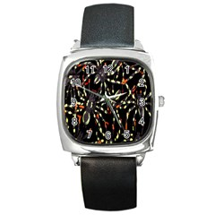 Spiders Background Square Metal Watch